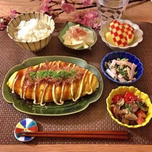 盛り付け|77.晩ごはんレシピ:【20分】豚平焼き、大根と筍のさっと煮