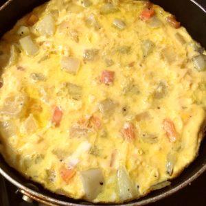 表面が固まってきたら|86.晩ごはんレシピ:【60分】チーズインハンバーグ/スペイン風オムレツ