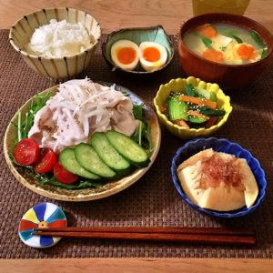 盛り付け|90.晩ごはんレシピ:【30分】冷しゃぶサラダ、ニラ玉豆腐中華スープ、筍のさっと煮