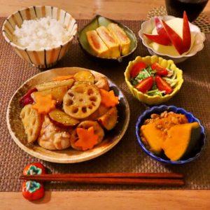 盛り付け|177.晩ごはんレシピ:【30分】さつまいもとレンコンと鶏肉の炒め煮